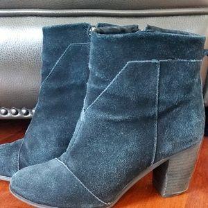 TOMS Blue Suede Boots - Size 8.5 (EUC)